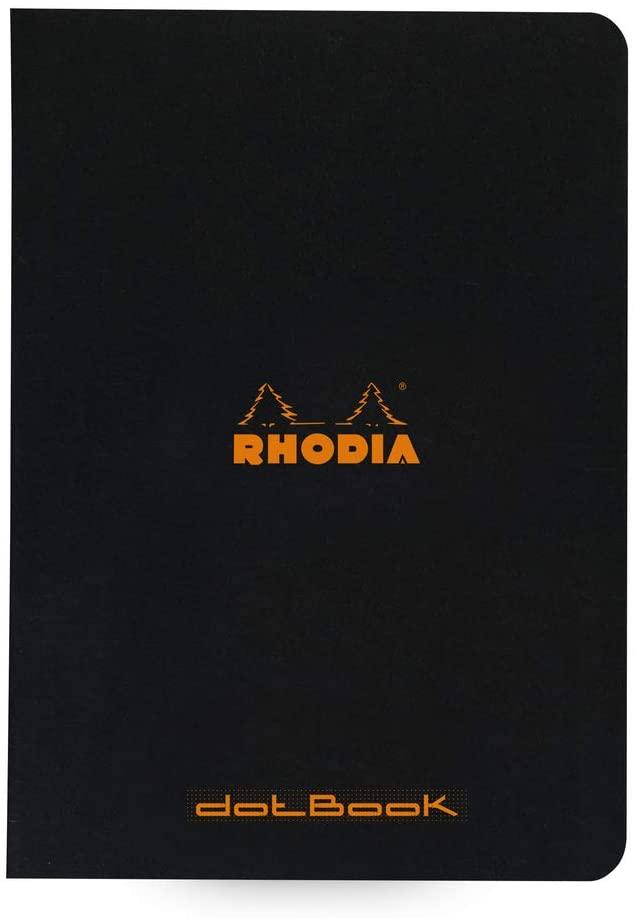 Rhodia 119186C Notizheft (dot grid, DIN A5, 14,8 x 21 cm, 48 Blatt) 10 Stück schwarz