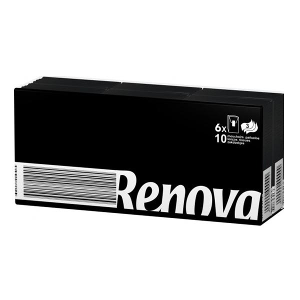 RENOVA 6 x 7 durchgefärbte Pocket Taschentücher SCHWARZ (42 Stück)
