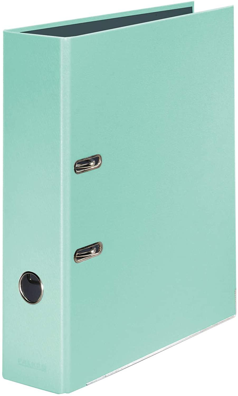 Original Falken PastellColor-Ordner 8 cm breit (5er Pack) DIN A4 Pastell-Farbe Minze Ringordner Akte