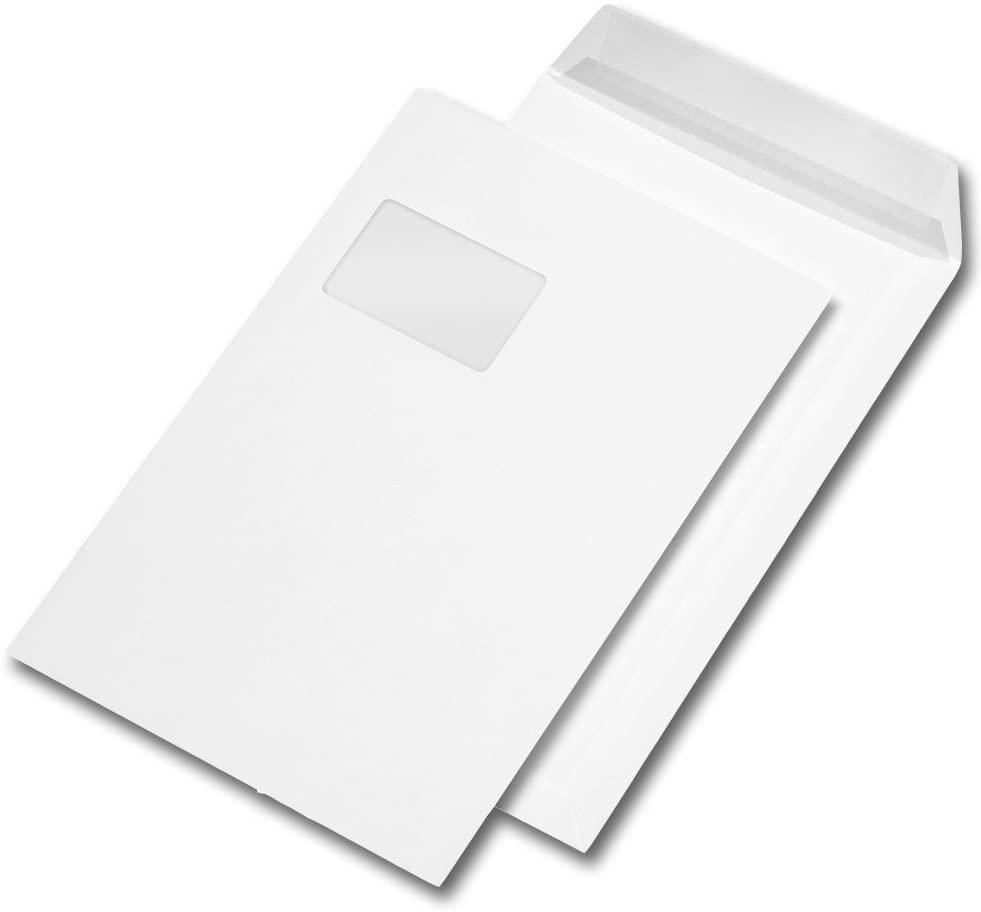 500 Versandtaschen C4 229 x 324 mm, haftklebend, mit Fenster, 90g/qm (500er Karton | C4, weiß | haft