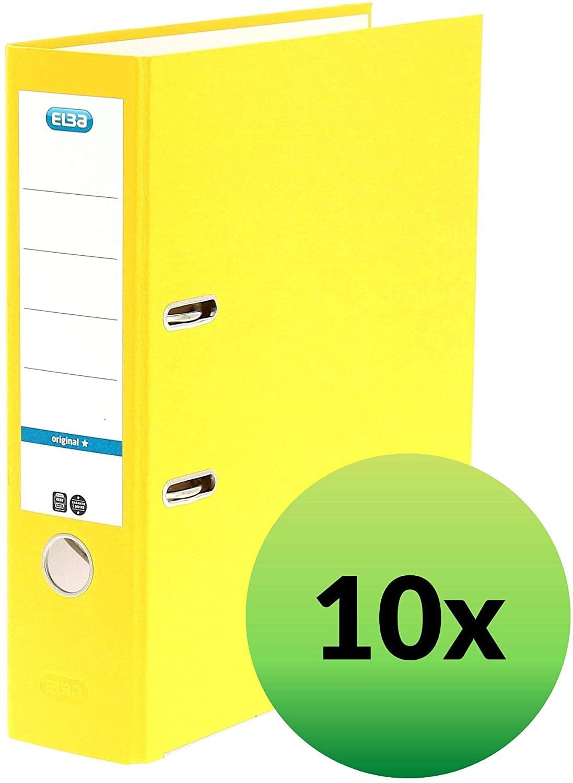ELBA 100202216 Ordner smart Original Papier 10er 8 cm breit DIN A4 GELB - für den täglichen Gebrauch