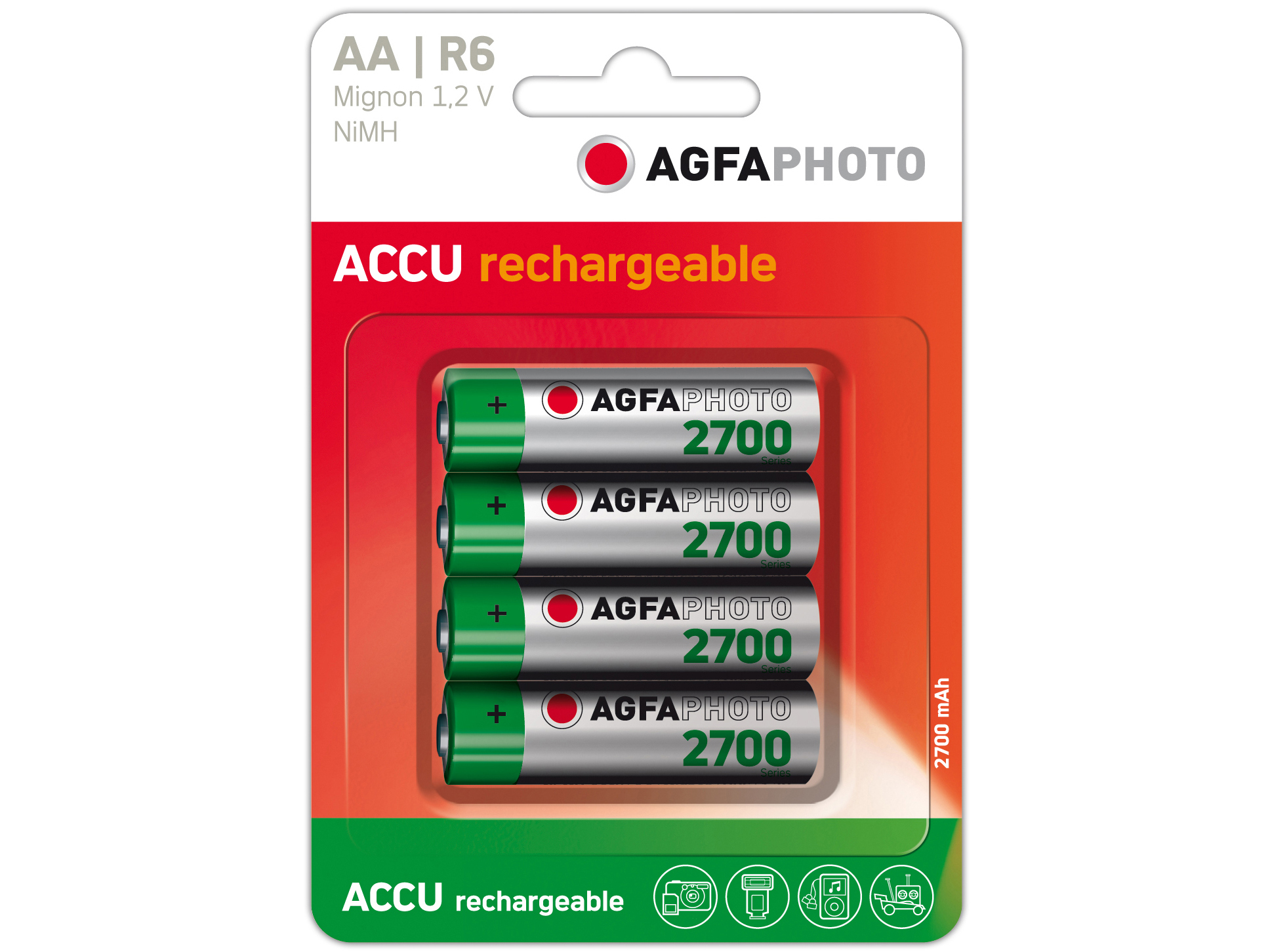 Agfa Photo Akkus AA LR6 1,2V NiMh 4er Pack