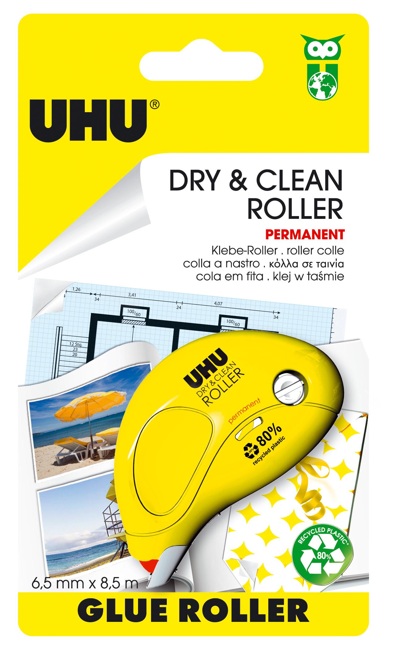 UHU Dry & Clean Roller Kleberoller, permanent, Infokarte