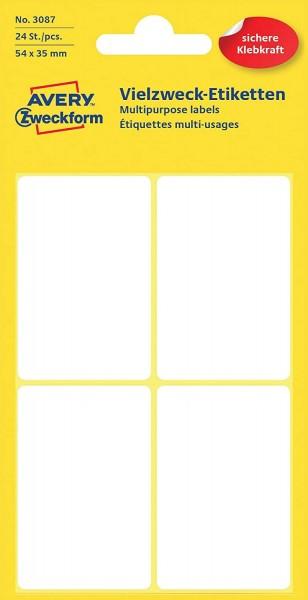 Avery Zweckform 3087 Haushaltsetiketten selbstklebend (54 x 35 mm, 24 Aufkleber auf 24 Bogen, Vielzw