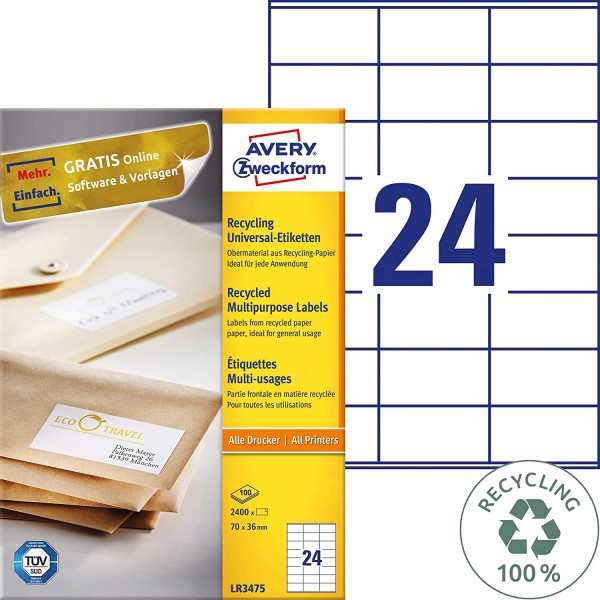 AVERY Zweckform LR3475 Recycling Etiketten (2.400 Adressaufkleber, 70x36mm auf A4, 100% recyceltes A