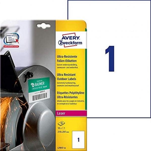 AVERY Zweckform L7917-10 Strapazierfähige Folienetiketten (210x297 mm auf DIN A4, extrem stark selbs