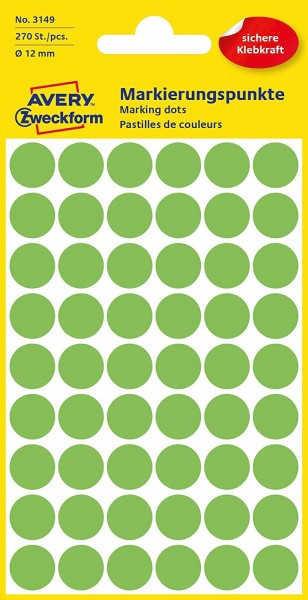 AVERY Zweckform 3149 selbstklebende Markierungspunkte (Ø 12 mm, 270 Klebepunkte auf 5 Bogen, runde A
