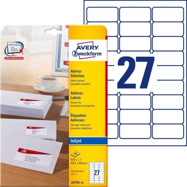 AVERY Zweckform J4792-25 Adressetiketten/Adressaufkleber (675 Etiketten, 63,5x29,6mm auf A4, bedruck
