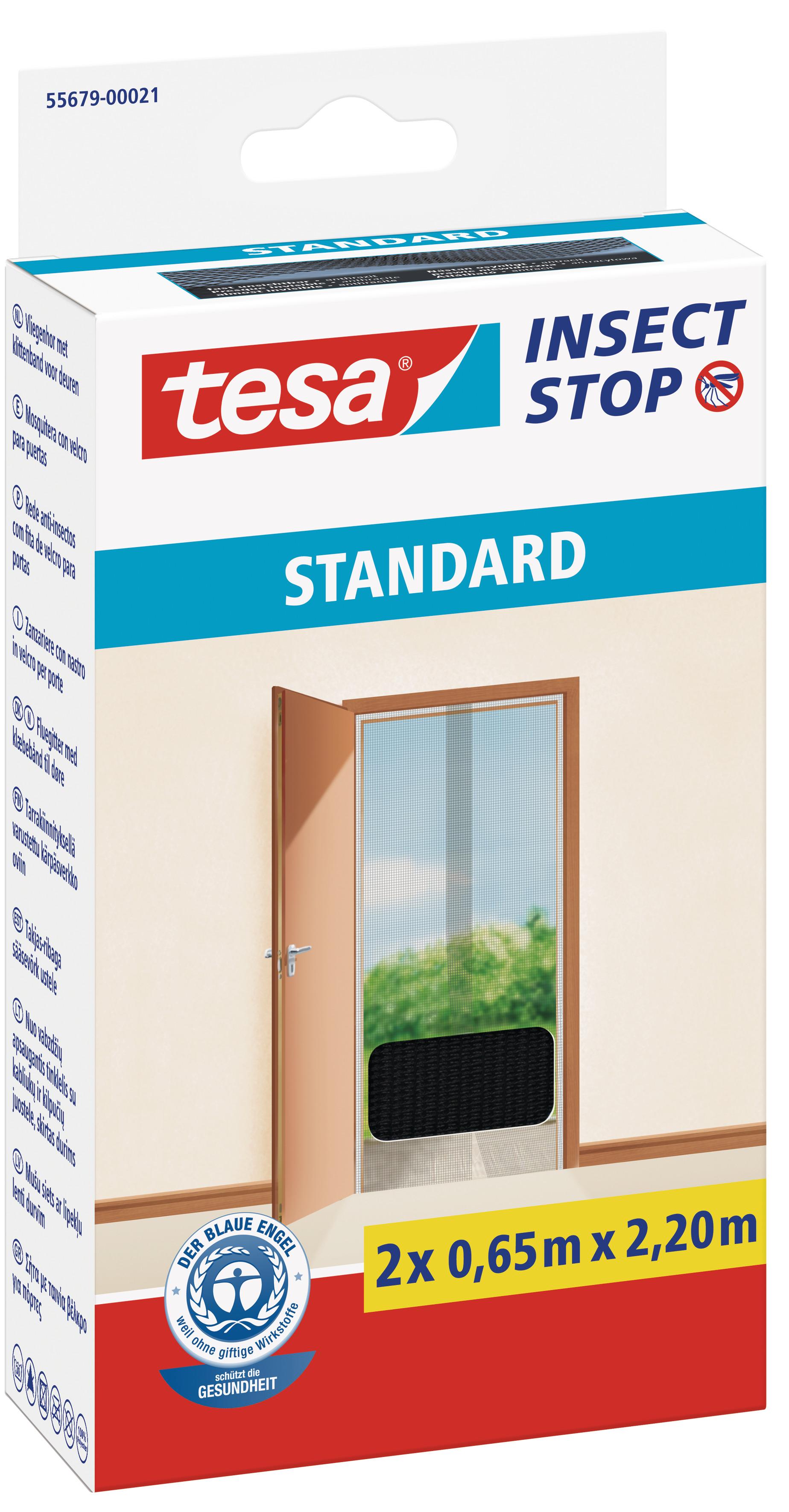tesa Fliegengitter Standard Klettband für Tür 2 x 0,65 m : 2,2 m, anthrazit