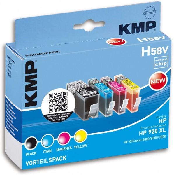 KMP Vorteilspack H58V kompatibel mit HP 920XL - 4 Patronen - ohne Chip