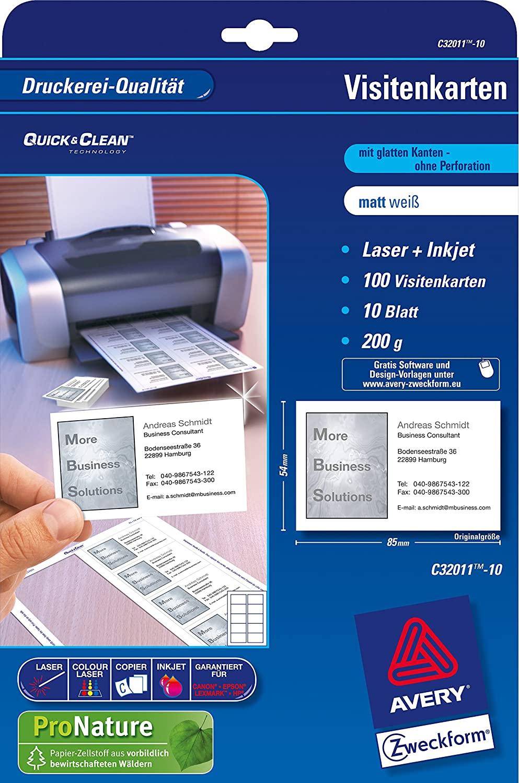 AVERY Zweckform C32011-500 vorbedruckbare Superior Visitenkarten, blanko (5.000 Stück, 200g, 85x54 m