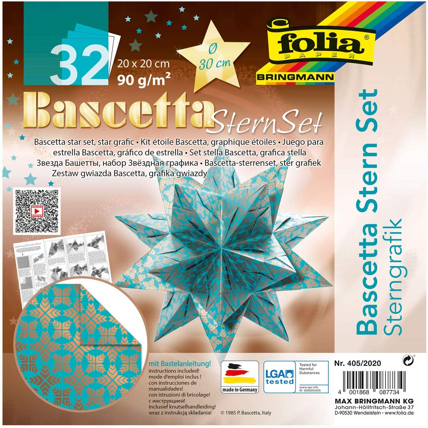 folia 405/2020 - Bastelset Bascetta Stern Sterngrafik türkis/kupfer, 32 Blatt, 20 x 20 cm, fertige G