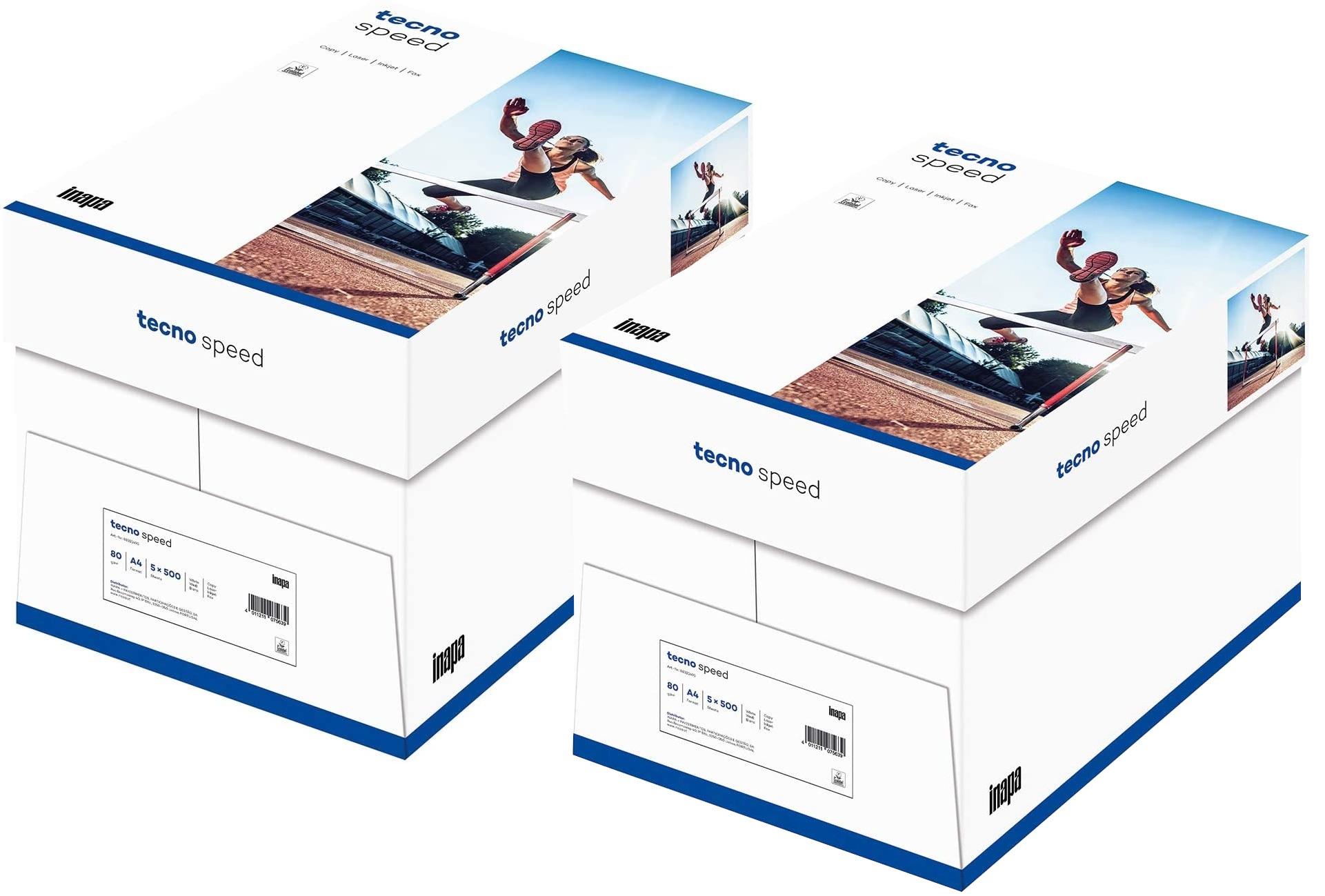 inapa Drucker-/Kopierpapier tecno Speed: 80 g/qm², A4, weiß, 5000 Blatt (2x Karton mit je 2500 Blatt
