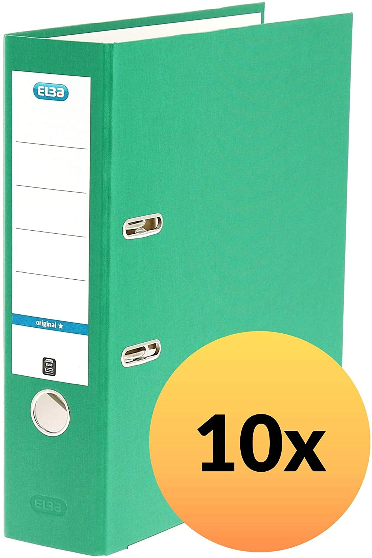 ELBA 100202219 Ordner smart Original Papier 10er Pack 8 cm breit DIN A4 grün - für den täglichen Geb