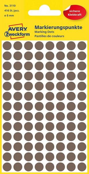 AVERY Zweckform 3110 Selbstklebende Markierungspunkte, Taupe (Ø 8 mm; 416 Klebepunkte auf 4 Bogen; R