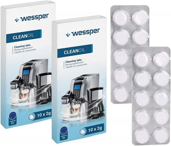 Wessper 20 Stück Reinigungstabletten für alle Kaffeevollautomaten und Kaffeemaschinen