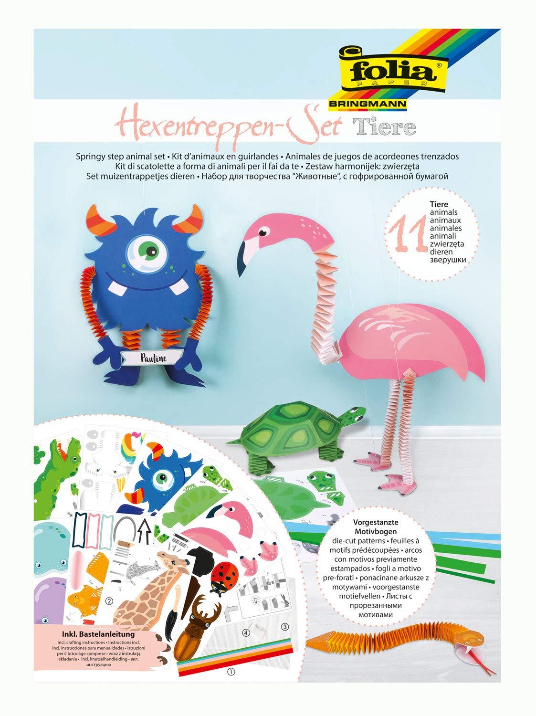 Folia 21901 - Bastelset Hexentreppen-Tiere, Set für 11 Figuren, 262 Teile - ideal für Kinder zum Ers