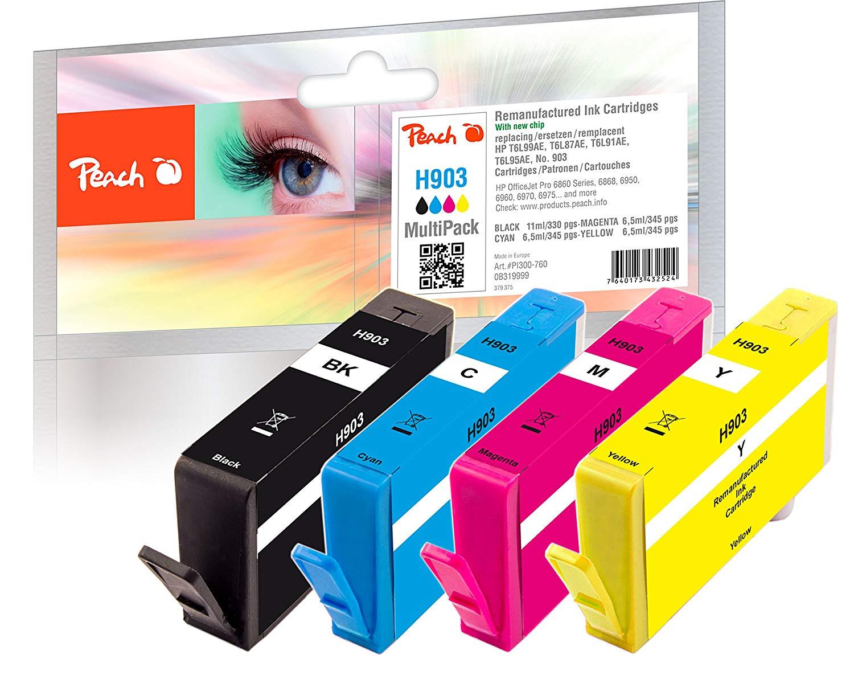 Peach Multipack H903 - PI300-760 für HP Nr. 903 T6L99AE T6L87AE T6L91AE T6L95AE