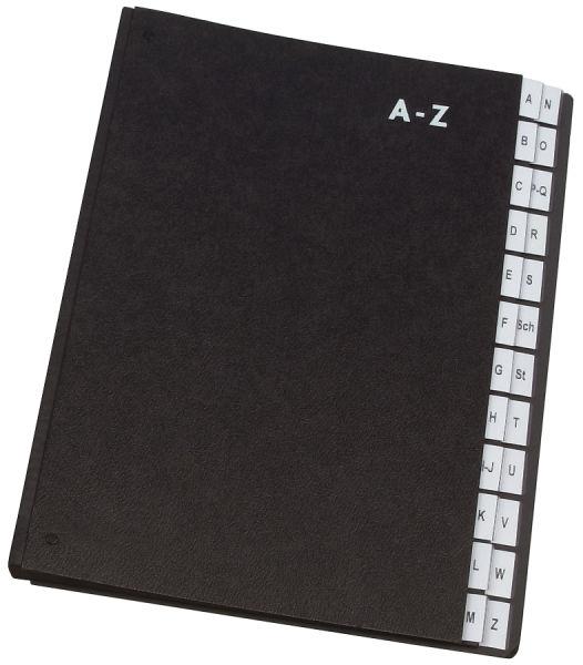 Q-Connect Pultordner Hartpappe - A - Z, 24 Fächer, Farbe schwarz