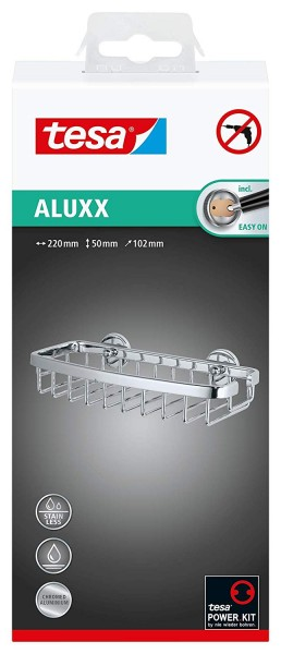 Tesa Aluxx Duschkorb Gr. S (NICHT BOHREN, Aluminium, verchromt, rostfrei, inkl. Klebelösung, 50mm x