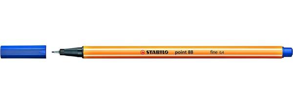 STABILO® Fineliner point 88®, mit Kappe, 0,4 mm, Schreibfarbe: dunkelblau (10 Stück)