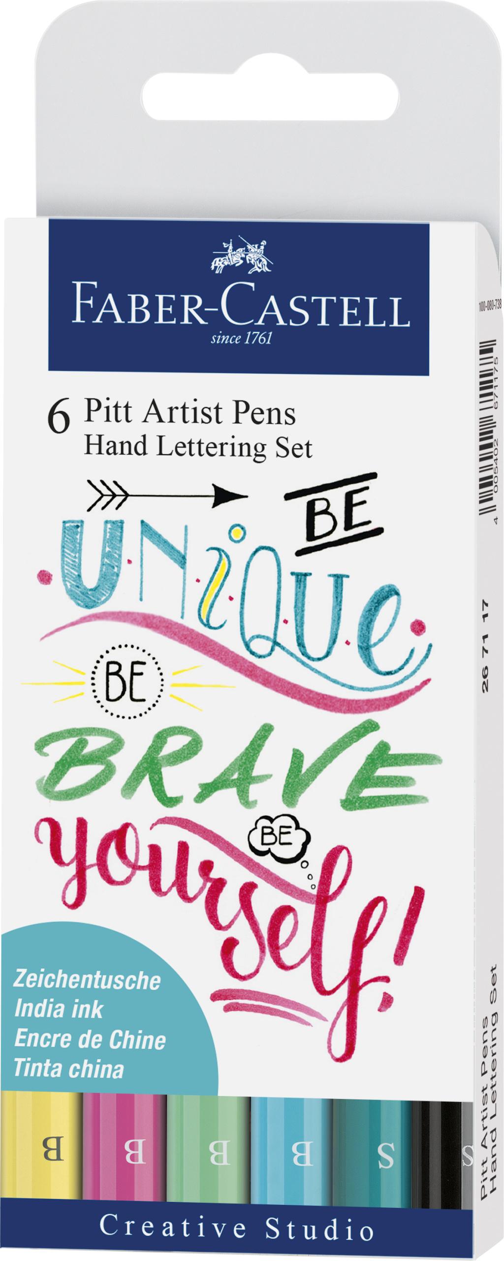 Faber-Castell Pitt Artist Pen Handlettering 6er Etui, Pastelltöne #Lettering