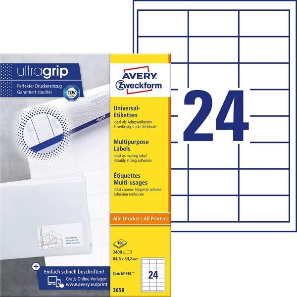 AVERY Zweckform 3658 Adressaufkleber (2.400 Klebeetiketten, 64,6x33,8mm auf A4, Papier matt, bedruck