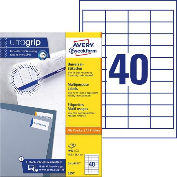 AVERY Zweckform 3657 Universal Etiketten (4.000 Klebeetiketten, 48,5x25,4mm auf A4, Papier matt, ind