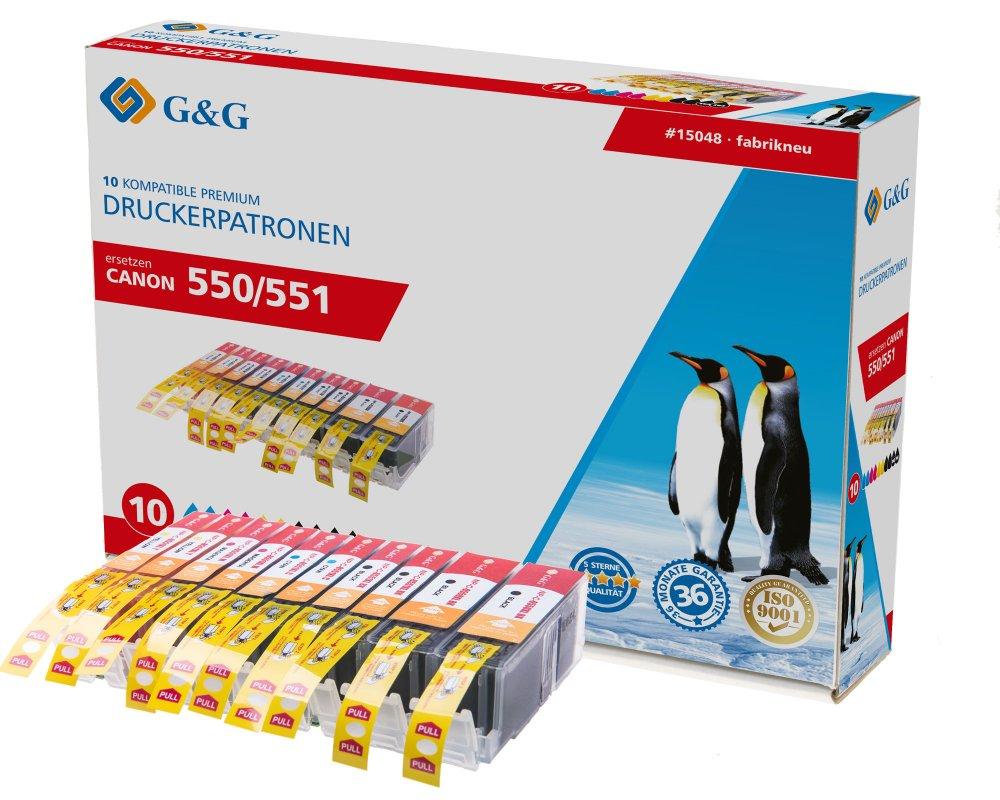 G&G Tinte ersetzt Canon PGI-550XLPGBK CLI-551XLBK CLI-551XLC CLI-551XLM CLI-551XLY Kompatibel 10er-P