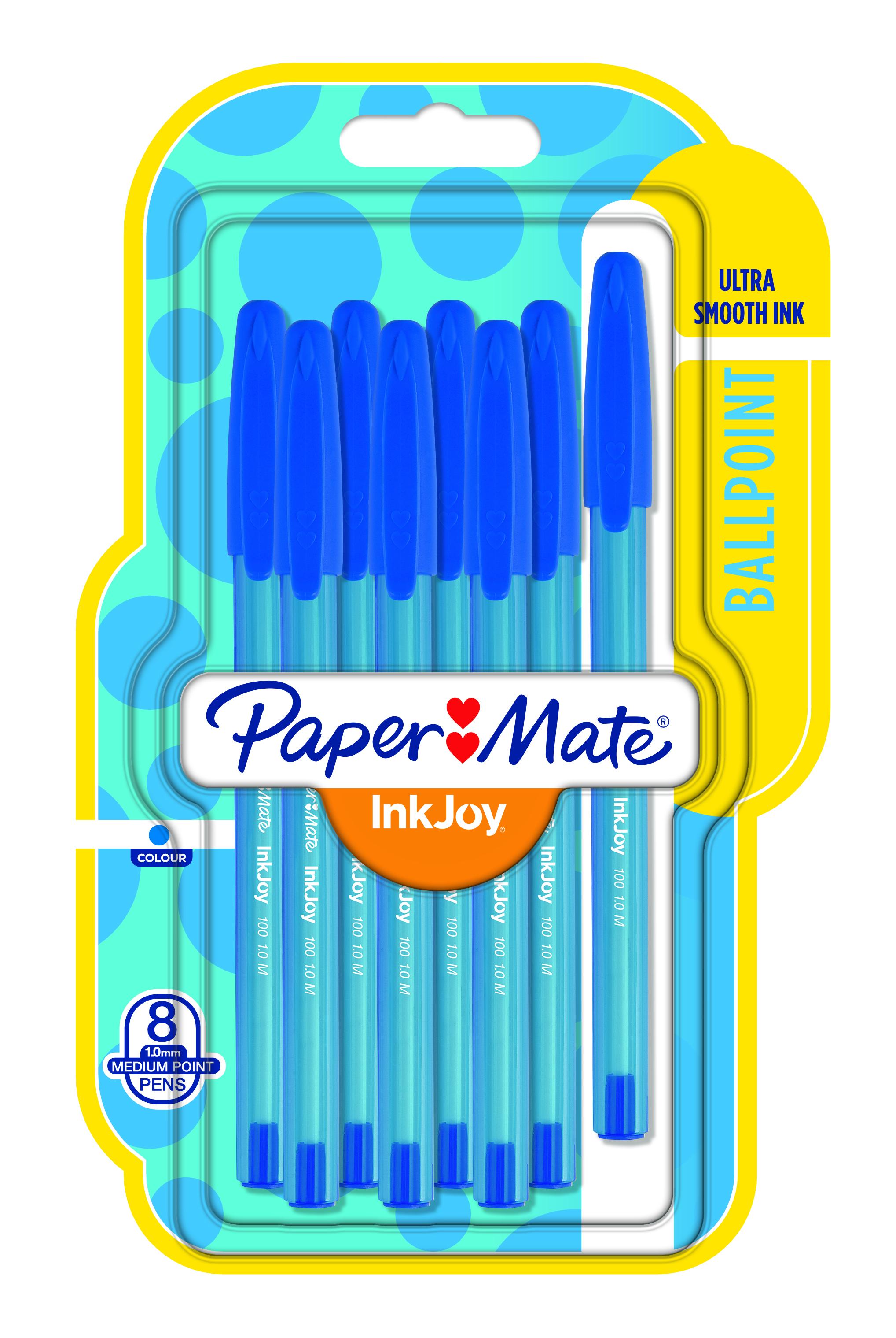 Paper Mate InkJoy - 1956742 - Kugelschreiber, Medium, 1,0mm, 8 Stück in blau