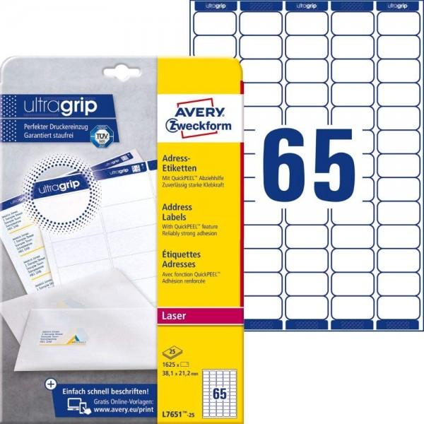 AVERY Zweckform L7651-25 Adressetiketten, Adressaufkleber (1.625 Etiketten mit ultragrip, 38,1x21,2m