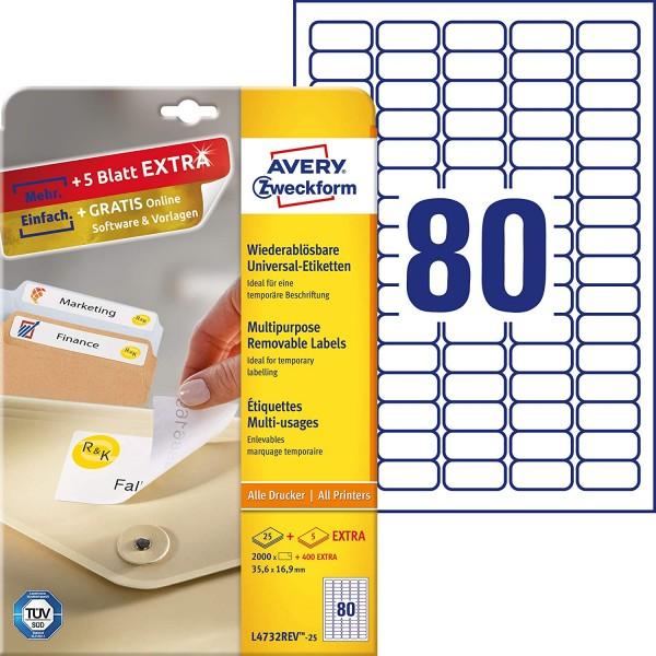 AVERY Zweckform L4732REV-25 Universal Etiketten (2.000 plus 400 Klebeetiketten extra, 35,6x16,9mm au
