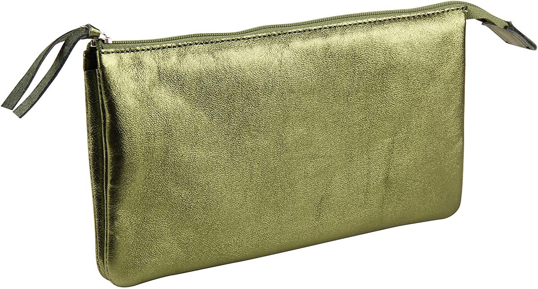 Clairefontaine 400023C Große Mappe (mit Perlmutt-Effekt mit 2 Fächern, 22x11 cm) 1 Stück in grün