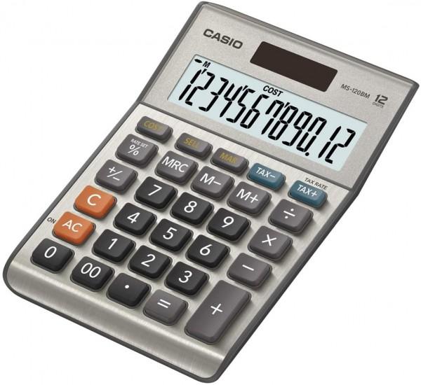 CASIO MS-120BM Tischrechner kompakt mit Metallfront silber, 12-stelliges Display, Steuer-Berechnung,