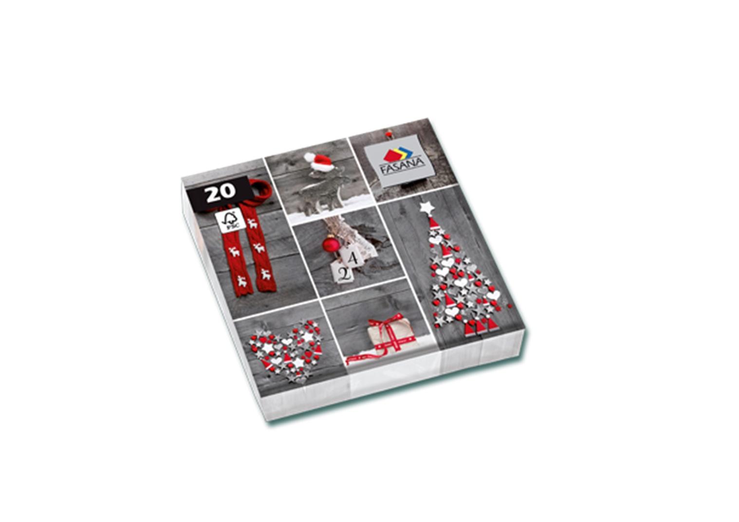 Fasana Servietten 33 x 33 cm 1/4 Falzung 100 Stück Motive Rot - Grau