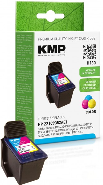 KMP H130 farbig Tintenpatrone ersetzt HP Deskjet HP22 (C9352AE)