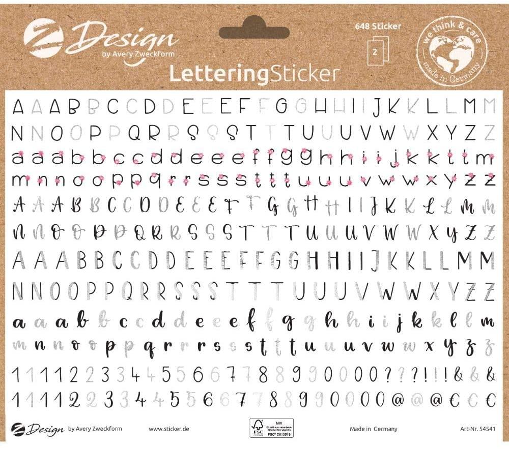 AVERY Zweckform 54541 Dekosticker 648 Aufkleber Buchstaben und Zahlen (Sticker auf A5 Bogen, für Bul
