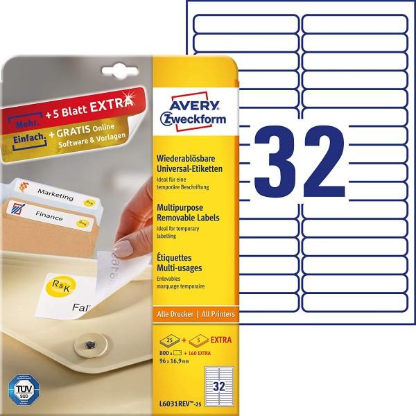 AVERY Zweckform L6031REV-25 Universal Etiketten (800 plus 160 Klebeetiketten extra, 96x16,9mm auf A4