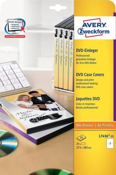 AVERY Zweckform L7436-25 DVD-Einleger für Filmbox (A4, 25 Stück, 183 x 272 mm, 25 Blatt) weiß