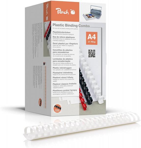 Peach PB450-01 Binderücken, Plastikbindung, DIN A4, Bindekapazität 500 Seiten, 50 Stück Weiß