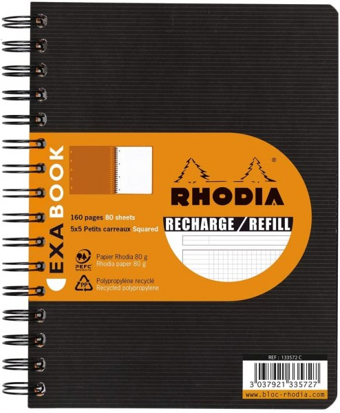 Rhodia 133572C SpiralBlock (DIN A5, 14,8 x 21 cm, kariert, ideal für Ihre Notizen, 80 Blatt) 1 Stück
