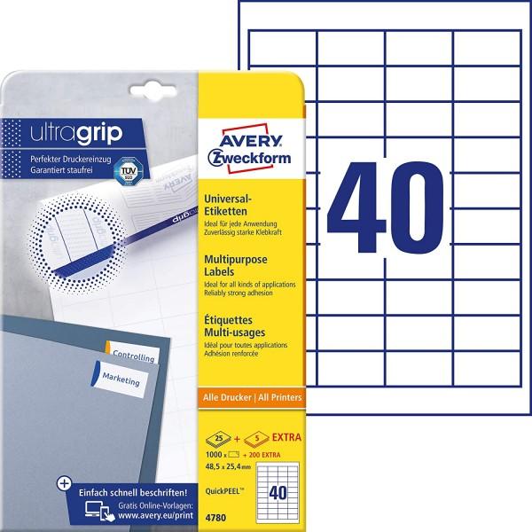 AVERY Zweckform 4780 Universal Etiketten (1.000 plus 200 Klebeetiketten extra, 48,5x25,4mm auf A4, P
