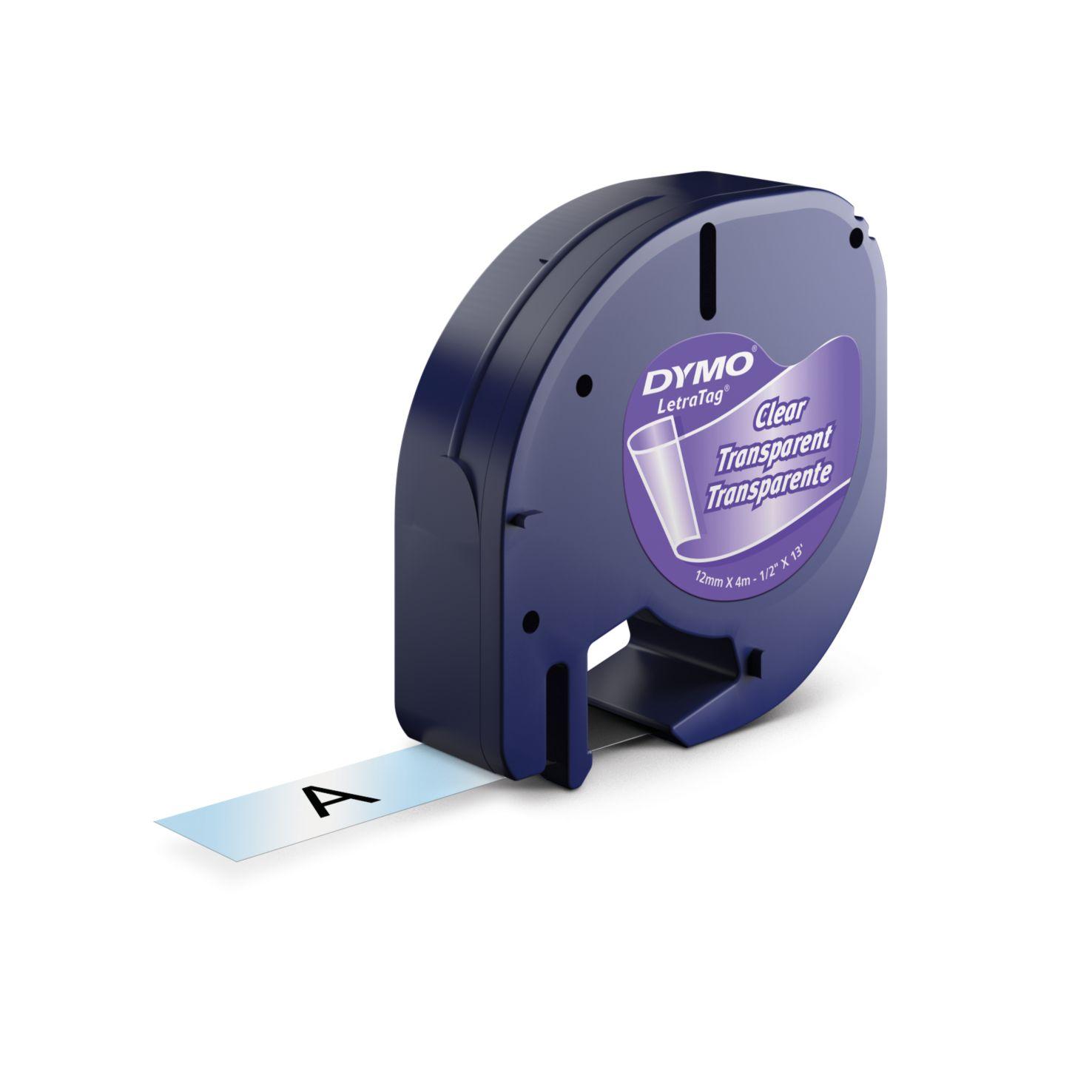 Dymo Letra Tag-Schriftband Plastik 12mm x 4m schwarz auf transparent
