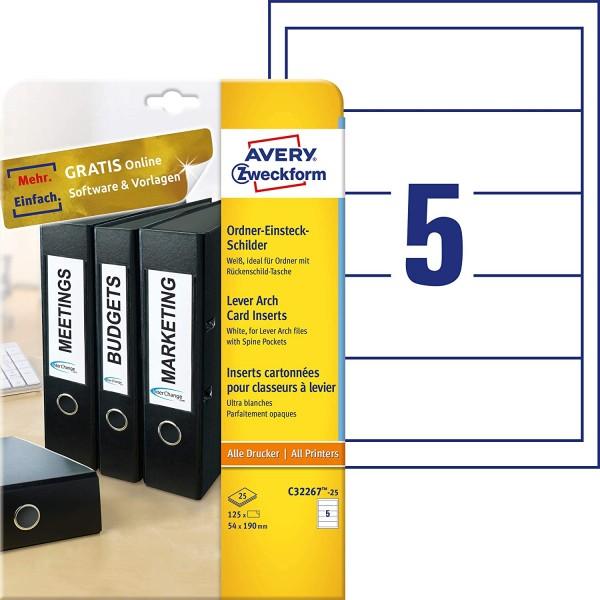 AVERY Zweckform C32267-25 Ordner-Einsteckschilder (54 x 190 mm auf DIN A4, für breite/ kurze Ordner,