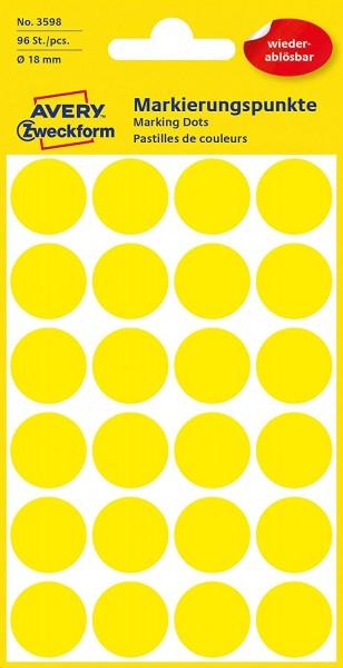 AVERY Zweckform 3598 selbstklebende Markierungspunkte (Ø 18 mm, 96 ablösbare Klebepunkte auf 4 Bogen