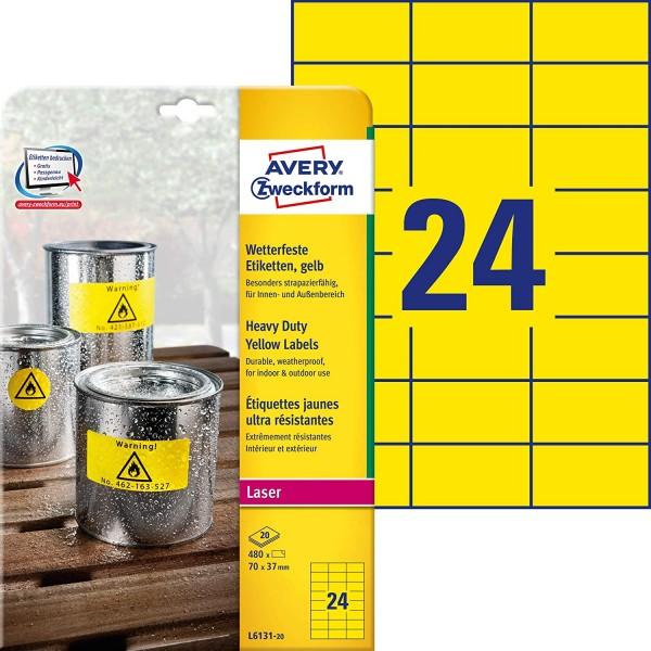 AVERY Zweckform L6131-20 Wetterfeste Folienetiketten (70x37 mm auf DIN A4, extrem stark selbstkleben