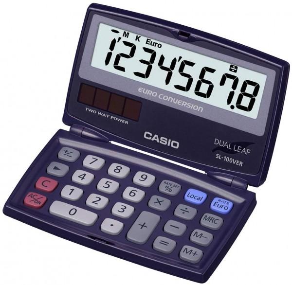 CASIO SL-100VER Taschenrechner - klappbar - Solar/Batteriebetrieb - 8-stellig - blau