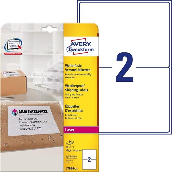 AVERY Zweckform L7996-25 Versand-Etiketten (A4, 50 Stück, 199,6 x 143,5 mm, 25 Blatt) weiß