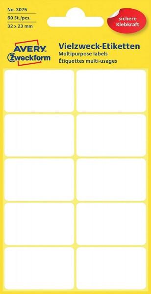 Avery Zweckform 3075 Haushaltsetiketten selbstklebend (32 x 23 mm, 60 Aufkleber auf 6 Bogen, Vielzwe