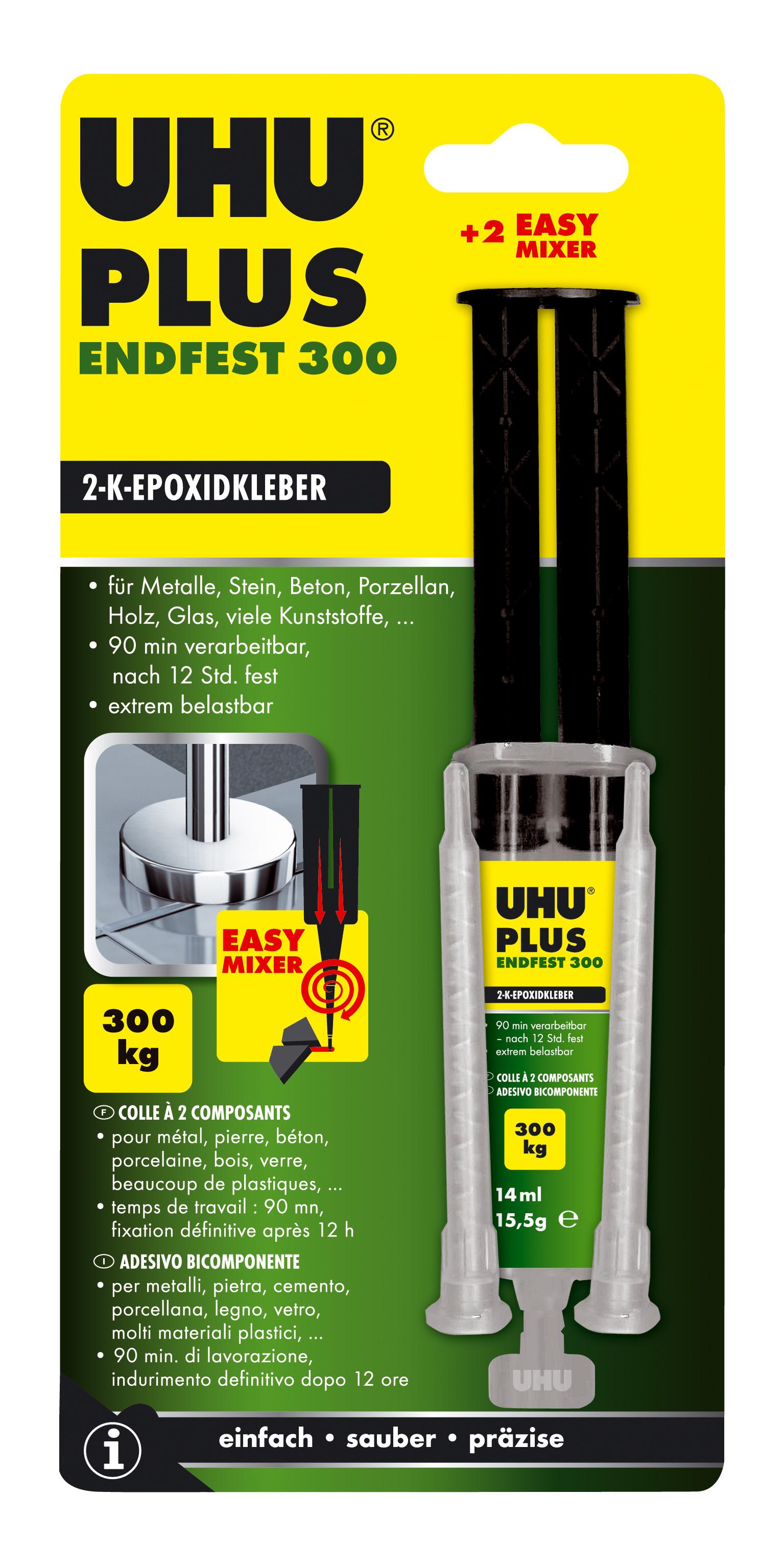 UHU plus endfest 2-Komponenten-Epoxidharzkleber Doppelkammerspritze inkl. stat. Mischer 15g Infokart
